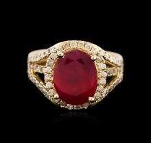 14KT Yellow Gold 5.36ct Ruby and Diamond Ring