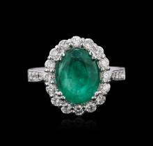 14KT White Gold 3.45ct Emerald and Diamond Ring