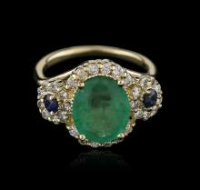 14KT Yellow Gold 3.06ct Emerald, Sapphire and Diamond Ring