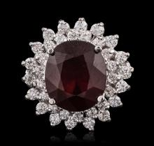 14KT White Gold 6.56ct Ruby and Diamond Ring