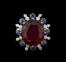 14KT White Gold 16.30ct Ruby, Sapphire and Diamond Ring