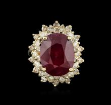 14KT Yellow Gold 7.34ct Ruby and Diamond Ring