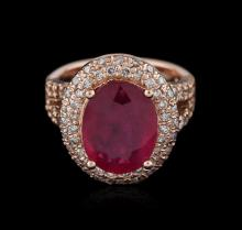 14KT Rose Gold 7.19ct Ruby and Diamond Ring