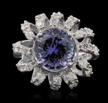 14KT White Gold 3.36ct Tanzanite and Diamond Ring