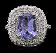 14KT White Gold 3.18ct Tanzanite and Diamond Ring