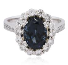 14KT White Gold 2.96ct Blue Spinel and Diamond Ring