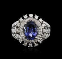 14KT White Gold 3.31ct Tanzanite and Diamond Ring