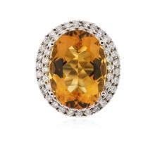 14KT White Gold 11.62ct Citrine and Diamond Ring