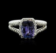 14KT White Gold 2.08ct Tanzanite and Diamond Ring