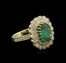 14KT Yellow Gold 3.11ct Emerald and Diamond Ring