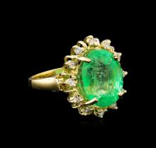 GIA Cert 10.23ct Emerald and Diamond Ring - 14KT Yellow Gold