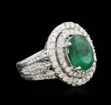 14KT White Gold 3.58ct Emerald and Diamond Ring