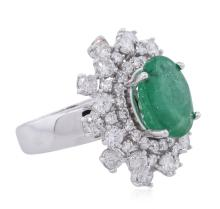 14KT White Gold 3.81ct Emerald and Diamond Ring