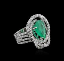 14KT White Gold 4.27ct Emerald and Diamond Ring