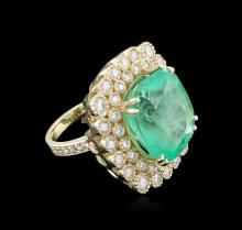 14KT Yellow Gold GIA Certified 28.07ct Emerald and Diamond Ring