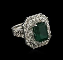 14KT White Gold 3.28ct Emerald and Diamond Ring