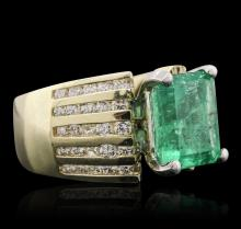 10KT Two-Tone Gold 4.31ct Emerald and Diamond Ring
