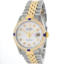 Rolex 14KT Two-Tone Sapphire And Diamond DateJust Men's Watch