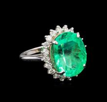 GIA Cert 13.76 ctw Emerald and Diamond Ring - 14KT White Gold
