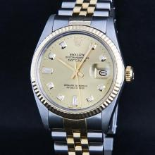 Rolex Two-Tone Champagne Diamond DateJust Men's Watch