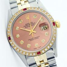 Rolex Two-Tone Diamond and Ruby DateJust Men's Watch