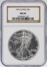 1992 NGC MS69 American Silver Eagle Dollar