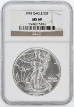 1991 NGC MS69 American Silver Eagle Dollar