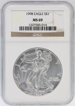 1998 NGC MS69 American Silver Eagle Dollar