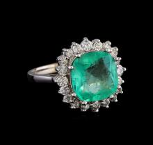 3.66 ctw Emerald and Diamond Ring - 14KT White Gold