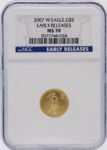2007-W NGC Graded MS70 Early Release $5 American Eagle Gold Coin