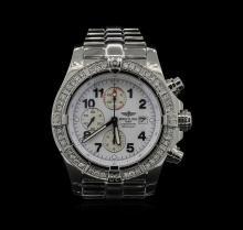 Breitling Stainless Steel 1.80ctw Diamond Super Avenger Mens Watch