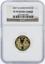 2007-W NGC Graded Ultra Cameo PF70 Jamestown $5 Commemorative Gold Coin