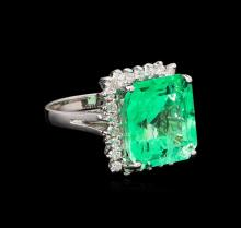 GIA Cert 15.96 ctw Emerald and Diamond Ring - 14KT White Gold