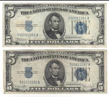 1934 $5 Silver Certificate Currency Lot of 2