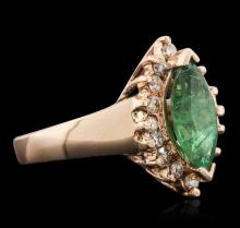 14KT Rose Gold 1.59 ctw Emerald and Diamond Ring
