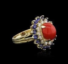 14KT White Gold 3.70 ctw Coral, Sapphire and Diamond Ring