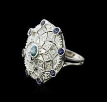 14KT White Gold 0.56 ctw Tanzanite and Diamond Ring