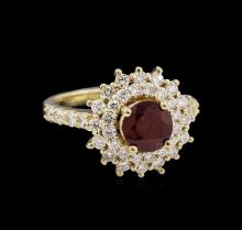1.62 ctw Ruby and Diamond Ring - 14KT Yellow Gold