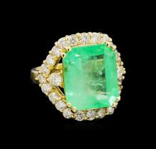 GIA Cert 9.38 ctw Emerald and Diamond Ring - 14KT Yellow Gold
