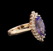 2.50 ctw Tanzanite and Diamond Ring - 14KT Rose Gold