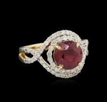 3.15 ctw Ruby and Diamond Ring - 14KT Yellow Gold