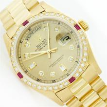 Rolex President 18KT Gold 1.00 ctw Diamond And Ruby DayDate Men's Watch
