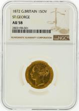 1872 NGC AU58 Great Britain 1 Sovereign St. George Gold Coin