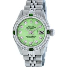 Rolex Stainless Steel Diamond and Emerald DateJust Ladies Watch