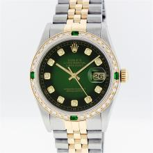 Rolex 18K Two-Tone 1.00 ctw Diamond and Emerald Datejust Men's Watch