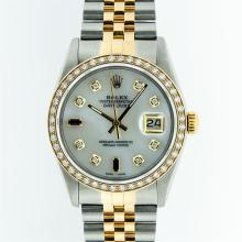 Rolex Two Tone Sapphire and Diamond DateJust Men's Watch