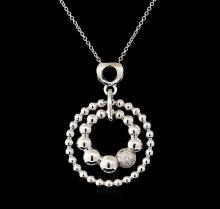 0.12 ctw Diamond Pendant With Chain - 14KT White Gold