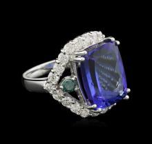 14.65 ctw Tanzanite and Diamond Ring - 14KT White Gold