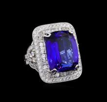 18KT White Gold GIA Certified 21.75 ctw Tanzanite and Diamond Ring