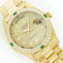 Rolex President 18KT Gold 1.00 ctw Diamond And Emerald DayDate Men's Watch